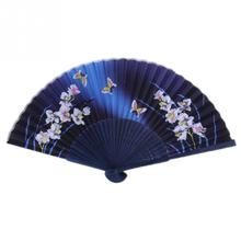 1pc Fashion Chinese Style Fan Flower Print Folding Fan Butterfly Hand Flower Bamboo Pocket Fan Nice Gift