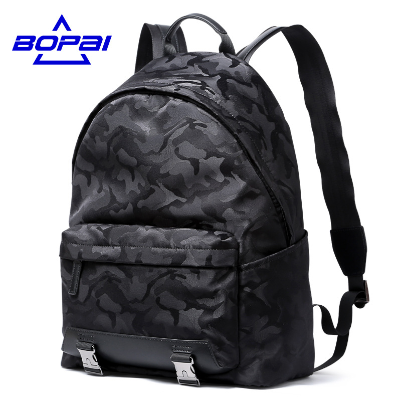 BOPAI Camouflage Printing Backpack for Men Unique Cool Boys School Bags 14 inch Notebook Laptop Bag Small Mens Backpack 4 colors<br>