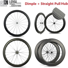 Dimple Surface Carbon Road Bike Wheels Tubular / Clincher 45mm 50mm 58mm 80mm Wheelsets With Taiwan Straight Pull Hub(China)