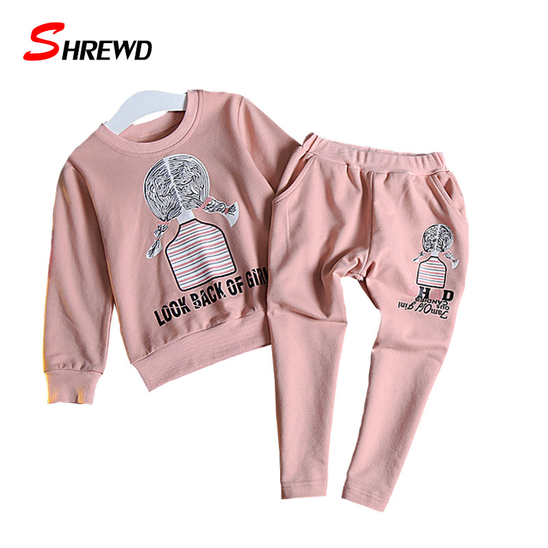 Girl Clothing Set Autumn 2017 Casual Cartoon Printing Toddler girl Sets Long Sleeve Tops+Solid Pants Kids Clothes 3293Z<br><br>Aliexpress