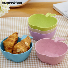 1pcs Toddler Baby Kids Child Feeding Training Bowl ,Apple Baby Feeding Bowl Tableware Children Plate Wheat fiber material Bowl(China)