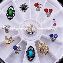 12 Mixed Styles Alloy Glitter Nail Art Rhinestones Wheel Metal Decorations Design Tools Jewelry Accessories #17 - Lucky Store store