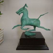 Hot Sale Chinese Antique Bronze Brass Horse on Swallow Lucky Statue Decor Crafts Sculpture Home Decoration