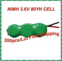 200packs /Lot, 80mAh 3.6V rechargeable button cell battery pack/NiMH battery pack(China)
