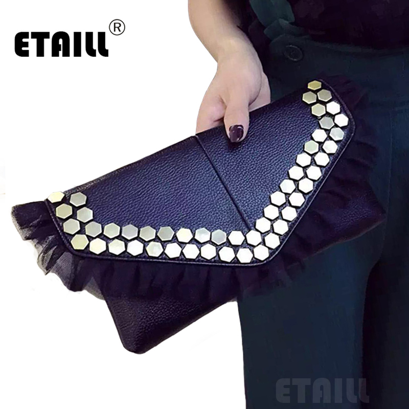 Black Lace Studded Clutch Bag High Quality Luxury PU Leather Punk Envelope Evening Bag Ladies Brand Women Rivet Shoulder Bag<br><br>Aliexpress