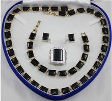 Wholesale price 16new ^^^^New noble natural black onyx jewelry set AAA+