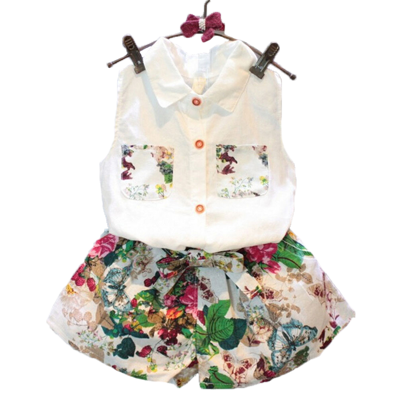 2 Pcs/Set 24M-8T Childrens Clothing Sets White Sleeveless Shirt + Shorts Fashion Flowers Summer For Toddler Girl Clothes<br>