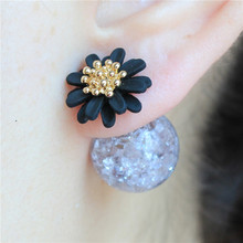 2015 new design fashion brand elegant Daisy jewelry double Imitation pearls stud earrings for women big three Flowers earings