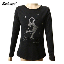 4 Colors Costume Customized Ice Figure Skating Tops Gymnastics Fleece Adult Child Front Skater Dancing Snowflake Rhinestones