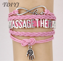 TDIYJ Multilayer Infinity Love Braided Hand Pendant Bracelet with Slide Charms MASSAGE THERAPIST for Women Stylish Bangle 6sets