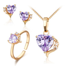 Cute Gold Color Lavendar Purple AAA CZ Heart CZ Ring Pendant Necklace and Earrings Small Jewelry Sets For Children Girls Kids(China)