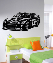 Cool Sport Car Nascar Decal Wall Art Vinyl Sticker Home Bedroom Dorm Office Interior Removable Decor 58 x 120cm(China)