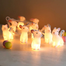 ISHOWTIENDA Shadow Lights Rabbits Cute Funny Home Decos Comsumption LED Rabbit Home Furnishing Battery Box Lamp String(China)