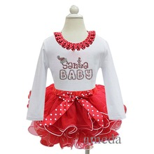 Christmas Rhinestone Santa BABY White Long Sleeves Top Pettitop with Red White Petal Pettiskirt 2 pcs Set 1-7Y