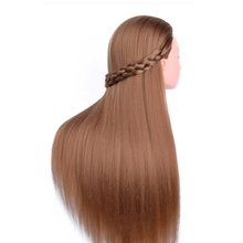 Hot 1PC Hair Mannequin Heads Fiber Long Hair Hairdressing Training Head Model Practice Salon Mannequin Head(China)
