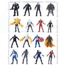 16pcs/lot 7cm PVC Spiderman Iron Man Batman Hulk Action Figure Model, Captain America Figure Toy, Anime Brinquedos, Kids Toys