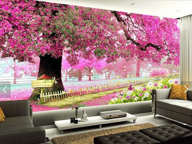 Custom photo Wallpaper,3 D Cherry tree Wallpaper for Sitting Room Tv bedroom wall background wall waterproof wallpaper<br>