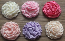 "100pcs/lot 25 colors 3"" Satin Ruched Rolled Rosette Flowers for embellishment of hair bows,headbands,hair clips"