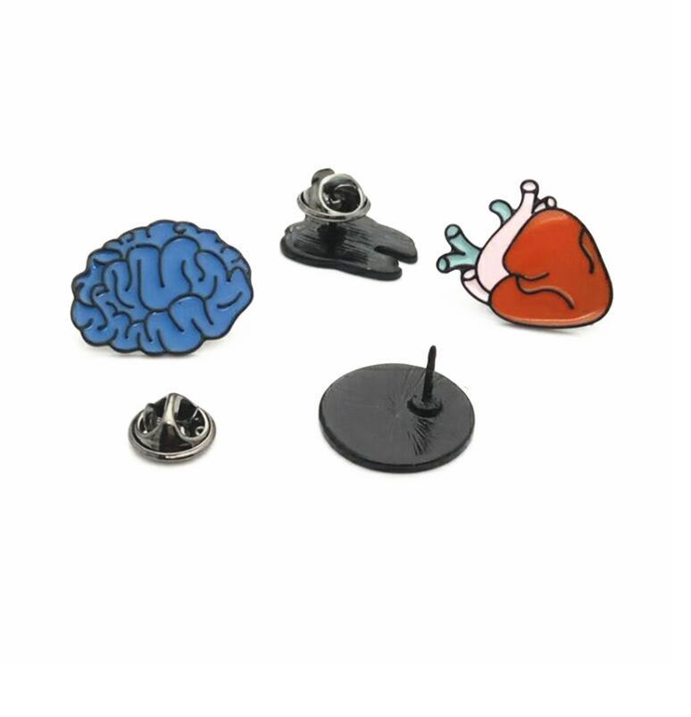 Cute Brain Heart Eye Tooth Metal Brooch Pins Clothes badgesButton Pins