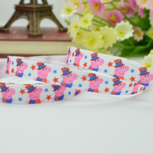 "DUWES 3/8""9mm 4TH of July Independence Day red white blue Patriotic Pink pig Printed grosgrain ribbon,hair bow DIY 50YD(China)"