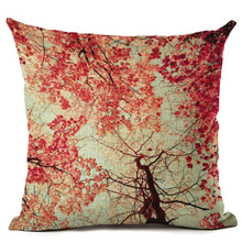 2015 Nature Style Fashion Scenic Cushion Flowers And Trees Print Pillow Bed Sofa Home Decor Pillow Fundas Para Almofadas Cojines(China)