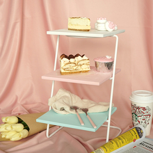 SWEETGO Painting wood cupcake holder display stand 3 lay afternoon tea plate dessert frame cake decorating tools blue pink white(China)