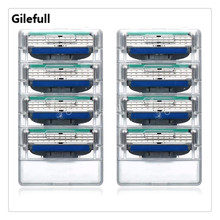 Gilefull 8pcs/lot High Quality Mens Standard for RU&Euro&US Blades Fusione Power 3 Men's shaving razor blade For Gillette Mach 3
