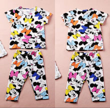 2016 Free shipping Summer Baby Girl Kids clothing Lovely Minnie Mouse clothes 2pcs T-shirt & Pants suits children's clothing set