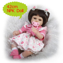 NPK 42cm Lovely Tiny Silicone Reborn Baby Doll In Lovely Pink Wavepoint Dress Boneca Realistic Babies Reborn Brinquedos Kids Toy