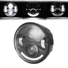 "Black Round Headlight For Harley Davidson 883 5-3/4"" 5.75 Inch Motorcycle Projector Hi / Low HID LED Front Driving Headlamp"