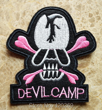 HOT SALE! ~ Devil Camp Punk skull and cross bones Iron On Patches, sew on patch,Appliques, Made of Cloth,100% Guaranteed Quality