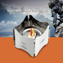 Portable Solid Fuel Camping Stove Stainless Steel Folding Stove Outdoor Stove Furnace Pot Stand Alcohol Stoves for Picnic Hiking(China)