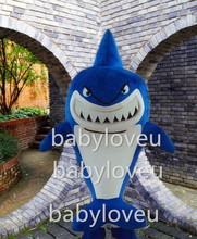 Promotion! Newest Version Light Mascot Costume lovely shark Cartoon Mascot Character Costume Free Shipping