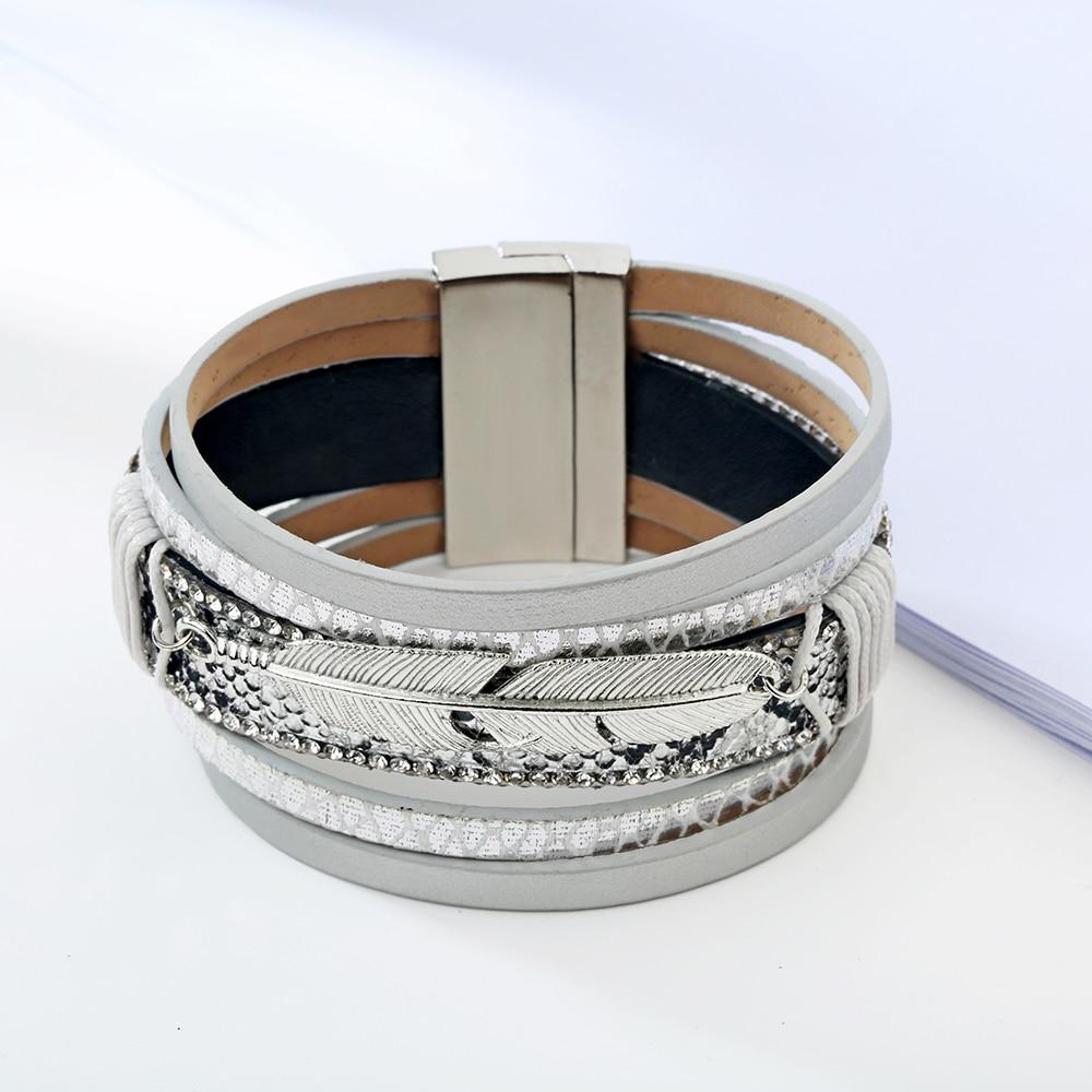 19 Fashion Alloy Feather Leaf Wide Magnetic Leather Bracelets & Bangles Multilayer Wrap Bracelets for Women Men Jewelry 8