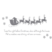 "HOT GCZW-Sleigh 5 little deer snowflakes ""Twas the Night before Christmas"" english Wall Sticker: gray(China)"
