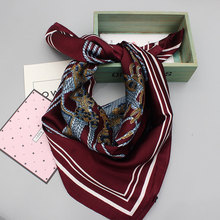 Luxury Brand Workplace Women Thin Silk Scarves Pashmina Art Square Silk Scarf Women Collar Shawls Spring 23 Colors  Dark Red