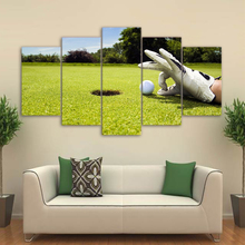 Decoration Modular Pictures Vintage Home Decor 5 Panel Golf Ball Paintings On Canvas Posters And Prints Pictures On The Wall(China)
