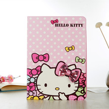 Cartoon 3D Bowknot Hello Kitty Case For iPad Pro 9.7 Inch KT Cover Stand Leather For Apple iPad Pro 9.7 Case Tablet Cover Funda(China)
