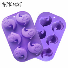 DIY Baking Cake Mould Ghost styling Soft Silicone 6 Holes Cupcake Mold Cake and Dessert Decorating Tools