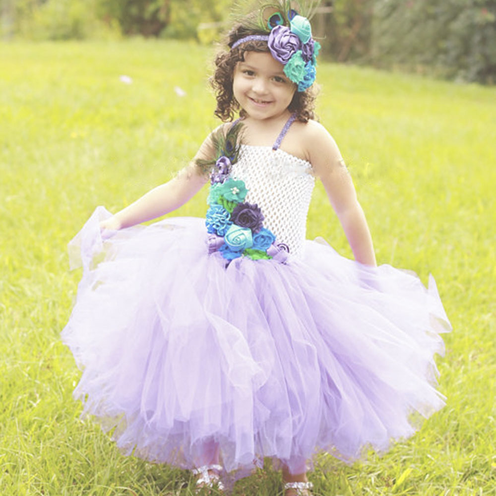 Lavender Peacock Queen Tutu Dress Handmade Girl Flower Feather Birthday Party Wedding Tutus Dresses For Photos With Headbands<br>