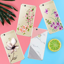 Lotus leaf Peach blossom case coque For Huawei P8 P9 P10 Lite 2017 Case Back cover