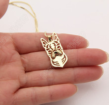 1pcs Boston Terrier Necklace 3D Cut Out Puppy Dog Lover Pendant Memorial Necklaces & Pendants Christmas Gift 2004 Lead Free