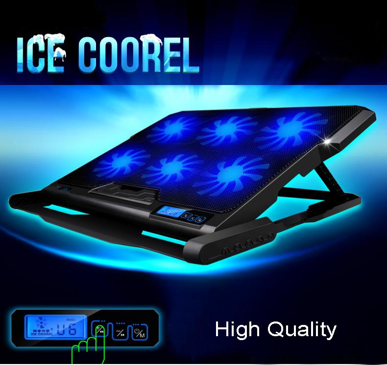 ICE COOREL مبرد وقاعدة للحاسوب المحمول 6 مراوح تبريد 12