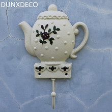DUNXDECO Home Decoration Accessories White Teapot Iron Hanger Miniature Model Rusty Wall Hook For Bag Cloth Decor(China)