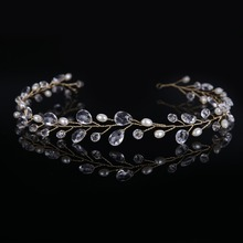2017 Newest Gold Hair Jewelry Bridal Hair Accessories New Water Drop Tiara Head Piece Fashion Hair Pins Tiaras Crowns Headbands(China)