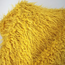 Yellow Mongolian Curly Sheep Faux Fur Fabric Faux Vest Fur Coat Baby Photography Props Sold By The Yard Free Shipping(China)