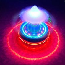 Interesting Children's Toy Colorful Flash LED Light Spinning Top Laser Music Gyroscope Kid's Wood Luminous Music Gyro(China)