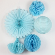 Blue Paper Decoration Set Paper Crafts(Paper Lantern,Paper Fans,Pom Pom,Honeycomb Balls) for Wedding Birthday Party Nursery