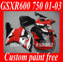 Hot Sale! Fairing kit for SUZUKI GSXR600 750 01 02 03 GSXR 600 GSX-R750 K1 2003 2001 2002 Red silver black Fairings set SM47(China)