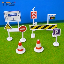 Teraysun 9PCS/set Traffic signs/ parking scenerio / the sign/ plastic model toys for architectural scale model making(China)